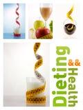 Gezonde vruchten en melk met het meten van band Stock Afbeeldingen
