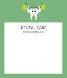 Gezonde witte tand en groene peer Blocnoteblad De raad van een arts brochure Modern vlak ontwerp Royalty-vrije Stock Afbeelding