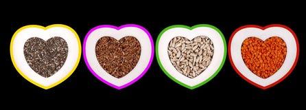 Gezonde zaden en korrels Stock Afbeeldingen