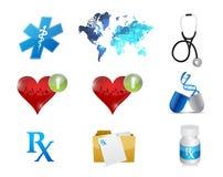 gezondheid en de medische vastgestelde illustratie van het conceptenpictogram Stock Foto