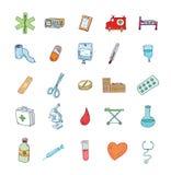 Gezondheid en geneeskundepictogrammen Vector Stock Afbeelding