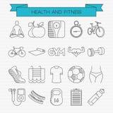 Gezondheid en geschiktheids geplaatste lijnpictogrammen Stock Afbeeldingen