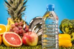 Gezondheid en geschiktheidssamenstelling, vruchten en groenten Stock Afbeelding