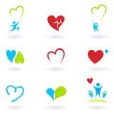 Gezondheid en Medisch: De pictogrammen van de cardiologie en van het hart Stock Foto's