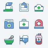 Gezondheid en medische behandelingpictogrammen Stock Afbeelding