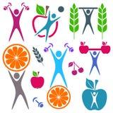 Gezondheid en voedselpictogrammen Stock Afbeeldingen