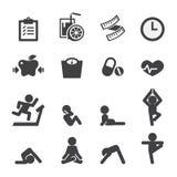 Gezondheid en yogapictogram Stock Afbeeldingen