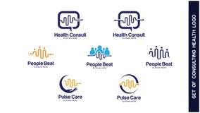 Gezondheid Logo Design Concept, Verschillende types van gezondheidsemblemen, Eenvoudig Logo Design Vector Royalty-vrije Stock Afbeeldingen