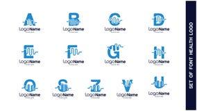 Gezondheid Logo Design Concept, Verschillende types van gezondheidsemblemen, Eenvoudig Logo Design Vector Royalty-vrije Stock Foto's
