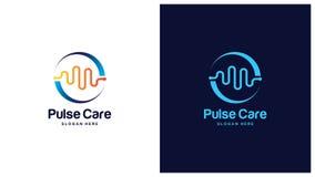 Gezondheid Logo Design Concept, Verschillende types van gezondheidsemblemen, Eenvoudig Logo Design Vector Stock Fotografie