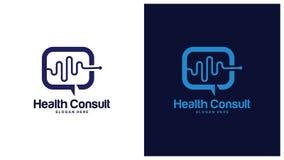 Gezondheid Logo Design Concept, Verschillende types van gezondheidsemblemen, Eenvoudig Logo Design Vector Stock Foto