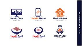 Gezondheid Logo Design Concept, Verschillende types van gezondheidsemblemen, Eenvoudig Logo Design Vector Royalty-vrije Stock Afbeelding