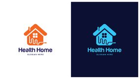 Gezondheid Logo Design Concept, Verschillende types van gezondheidsemblemen, Eenvoudig Logo Design Vector Royalty-vrije Stock Fotografie