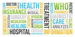 Gezondheid, medische verzekering, - Word Wolk vector illustratie