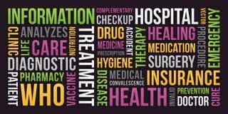 Gezondheid, medische verzekering, - Word Wolk stock illustratie
