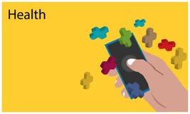 Gezondheid met hand - gehouden smartphone op de gele achtergrond Vlakke vectorillustratie stock illustratie
