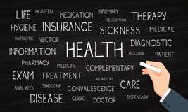 Gezondheid, verzekering, zorg - woordwolk - krijt en bord vector illustratie