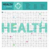 Gezondheids Thematische Inzameling van Lijnpictogrammen stock foto