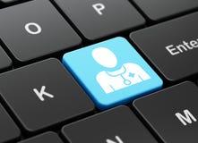 Gezondheidsconcept: Arts op de achtergrond van het computertoetsenbord Stock Afbeeldingen