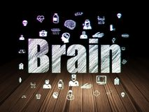 Gezondheidsconcept: Hersenen in grunge donkere ruimte Royalty-vrije Stock Foto's