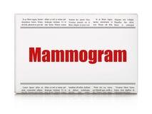 Gezondheidsconcept: het Mammogram van de krantenkrantekop Stock Foto's