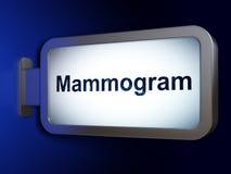 Gezondheidsconcept: Mammogram op aanplakbordachtergrond Stock Foto's