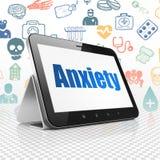 Gezondheidsconcept: Tabletcomputer met Bezorgdheid op vertoning Stock Afbeeldingen