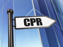 Gezondheidsconcept: teken CPR bij de Bouw van achtergrond Stock Afbeelding