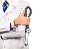 Gezondheidszorg, beroep, mensen en geneeskundeconcept - Arts met stethoscoop stock afbeelding