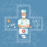 Gezondheidszorg en geneeskunde arts met stethoscoop vectorconcept Royalty-vrije Stock Fotografie