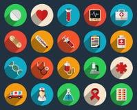 Gezondheidszorg en geneeskundepictogrammen in vlakke stijl vector illustratie