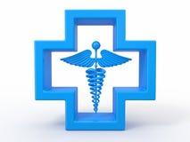 Gezondheidszorg en medisch symbool. Caduseus in kruis. Stock Afbeeldingen