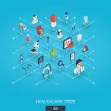 Gezondheidszorg, geïntegreerde 3d Webpictogrammen Digitaal netwerk isometrisch concept Stock Foto's
