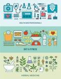 Gezondheidszorg, geschiktheid en de kruidenreeks van de geneeskundebanner Stock Afbeeldingen