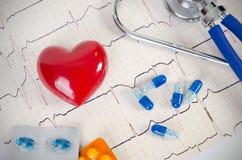 Gezondheidszorg met hart en stethoscoopsamenstelling Stock Fotografie