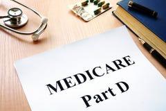 Gezondheidszorg voor bejaarden-Deel D op een lijst stock afbeeldingen