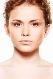 Gezondheidszorg, wellness. De schone huid van de schoonheid, sproeten Stock Fotografie