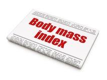 Gezondheidszorgconcept: de Index van de het Lichaamsmassa van de krantenkrantekop Royalty-vrije Stock Afbeeldingen