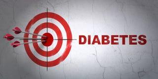 Gezondheidszorgconcept: doel en Diabetes op muurachtergrond Royalty-vrije Stock Foto