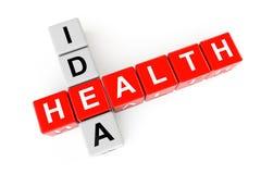 Gezondheidszorgconcept. Kubussen met het teken van het gezondheidsidee Stock Fotografie