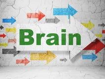 Gezondheidszorgconcept: pijl met Hersenen op de achtergrond van de grungemuur Royalty-vrije Stock Foto's