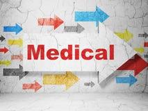 Gezondheidszorgconcept: pijl met Medisch op de achtergrond van de grungemuur Stock Fotografie
