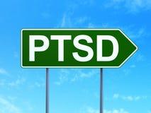 Gezondheidszorgconcept: PTSD op verkeerstekenachtergrond Royalty-vrije Stock Afbeelding