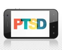 Gezondheidszorgconcept: Smartphone met PTSD op vertoning Stock Foto's
