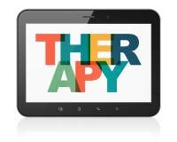 Gezondheidszorgconcept: Tabletcomputer met Therapie op vertoning Stock Afbeeldingen