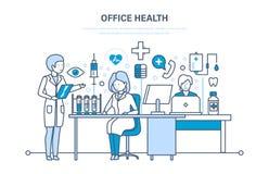 Gezondheidszorgsysteem, bureaugezondheid, werkende atmosfeer en gezondheid van werknemers royalty-vrije illustratie