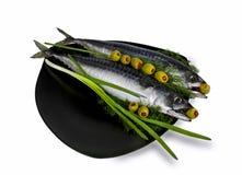 Gezouten makreel met olijven Royalty-vrije Stock Afbeeldingen