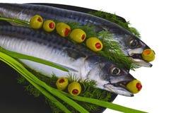 Stilleven met makreel Royalty-vrije Stock Afbeelding