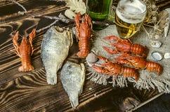 Gezouten gekookte rode rivierkreeften met droge gezouten vissen, glas met bier en een fles bier Stock Fotografie