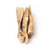 Gezouten kabeljauw of zoute die kabeljauw op een witte achtergrond worden geïsoleerd Stock Afbeeldingen
